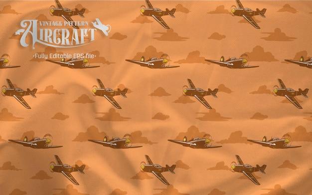 Samolot myśliwski vintage wzór brązowym tle