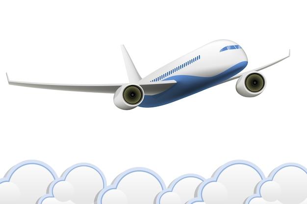 Samolot na białym tle nad chmurami