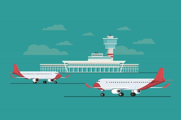 Samolot na lotnisku przylatuje i odjeżdża w niebo