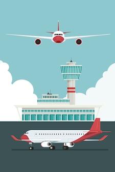 Samolot na lotnisku przyloty i odloty podróżują po niebie i chmurze