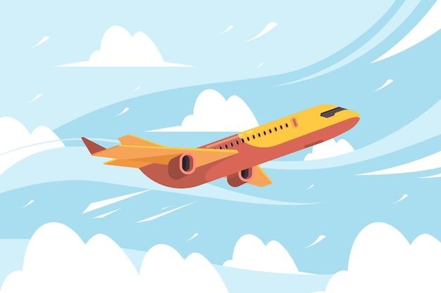 Samolot na niebie. latający transport samolotów cywilnych w chmurach płaskim tle.