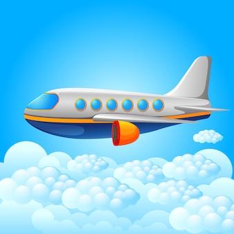 Samolot na niebieskim tle nieba