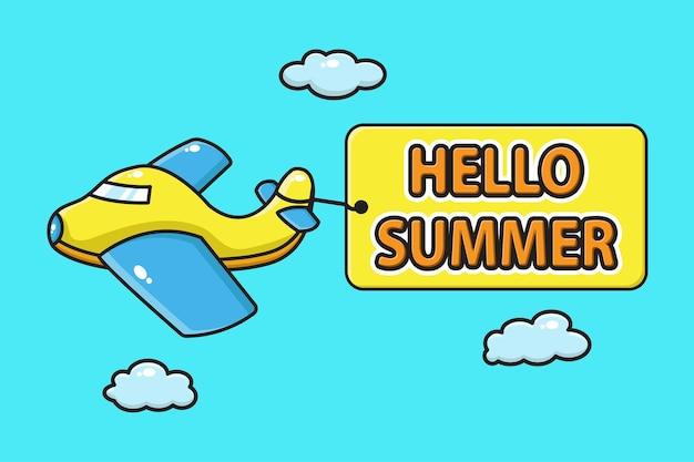 Samolot niosący banner witaj lato