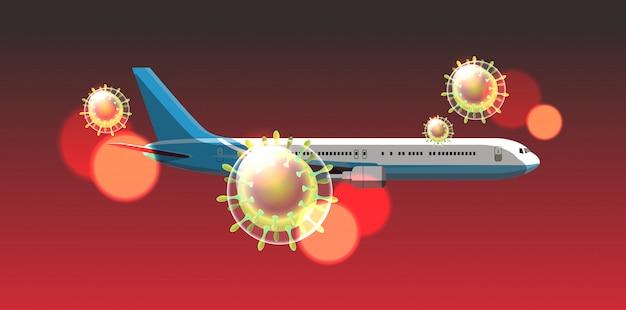 Samolot pasażerski latający w niebo coronavirus komórka grypa wybuch patogen oddechowy pandemia wuhan wirus medyczny ryzyko zdrowotne