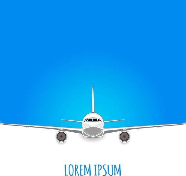Samolot pasażerski na biało - niebieskim tle. puste miejsce na tekst. ulotka. ilustracja