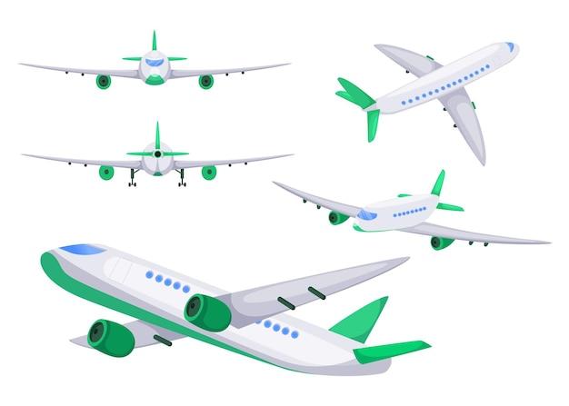 Samolot pod różnymi kątami płaska ilustracja