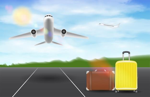 Samolot przelatuje nad lotniskiem pasa startowego z torbą podróżną