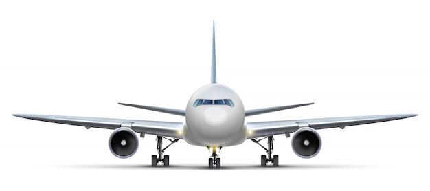 Samolot. samodzielnie na białym tle samolotów, widok z przodu.