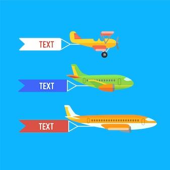 Samolot, samoloty, dwupłatowiec. zestaw kolorowych płaskich transportów lotniczych z chmurą.