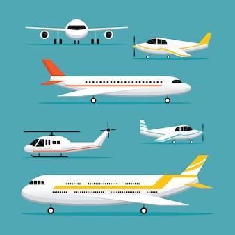 Samolot, samoloty, zestaw obiektów light jet flat design