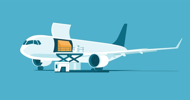 Samolot towarowy z otwartym włazem podczas załadunku kontenera na białym tle. ilustracja wektorowa.
