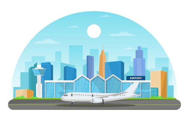 Samolot w pas startowy terminalu lotniska budynku krajobrazu linii horyzontu ilustraci