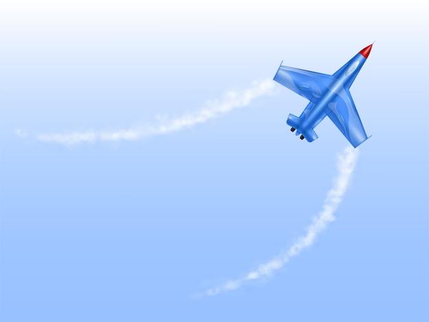 Samolot wojskowy w krzywej, myśliwiec w spin.