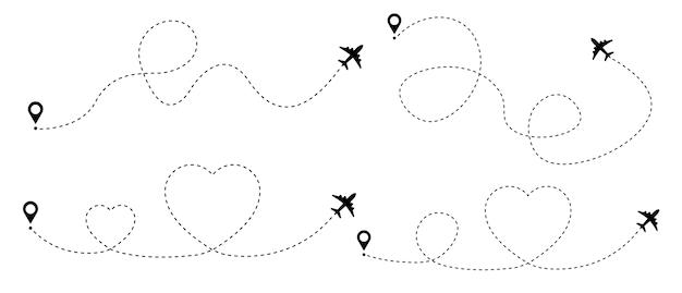 Samolot z linią przerywaną trasą przerywaną z sercem