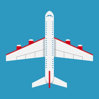 Samolot z widokiem z góry. ikona samolotu w stylu płaski. ilustracja wektorowa.