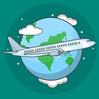 Samolotowa ilustracja dookoła świata