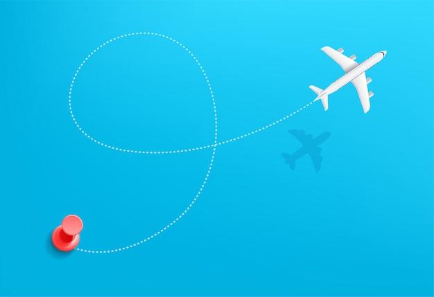 Samolotowa podróży podróży pojęcia ilustracja. trajektoria podróży z punktem początkowym
