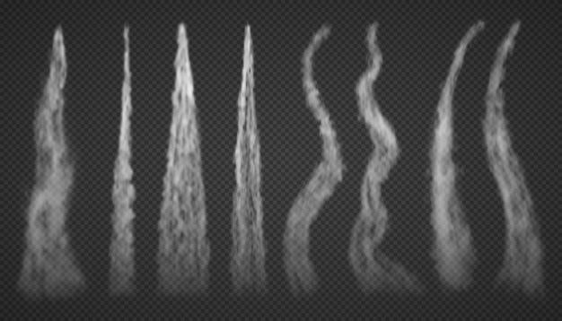 Samolotowe ślady kondensacji dymu na białym tle na przezroczystym tle. zestaw chmur dymu biały mglisty lotnictwa. rakieta startowa dymiąca.