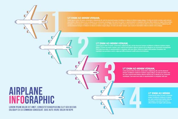 Samolotowy infographic sztandaru projekta szablon, oś czasu, linia lotnicza.