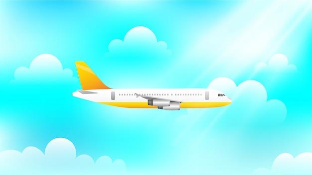 Samolotowy latanie na niebie przy dniem