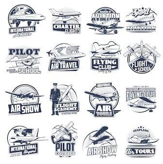 Samoloty lotnicze ikony vintage i nowoczesne. szkoła lotnicza, kursy pilotażowe, wycieczki i międzynarodowe lotnisko. latający klub, wodnosamoloty i lotnictwo lotnicze, pokazy lotnicze, lotnicy i lotnicy zestaw etykiet