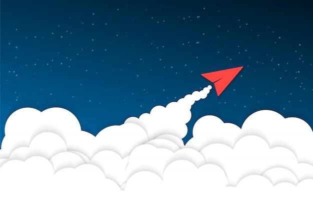 Samoloty origami latające na niebie