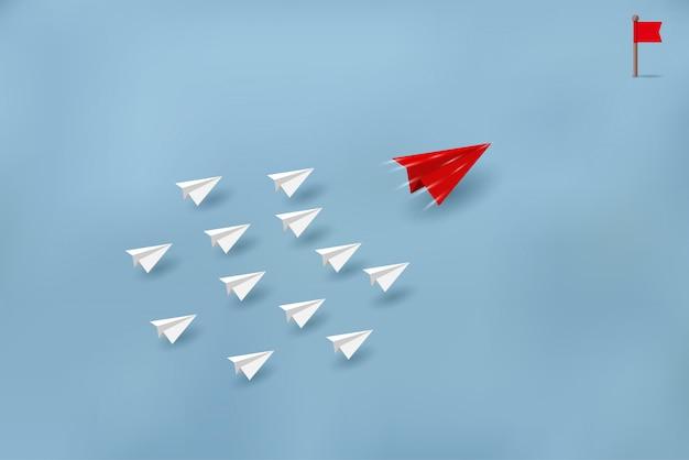 Samoloty papierowe konkurują z miejscami docelowymi. biznesowe koncepcje finansowe