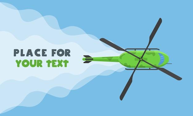 Samoloty, samoloty, helikoptery z miejscem na twój tekst w stylu kreskówki. idealny do banerów internetowych i reklam. widok z góry lecącego samolotu.