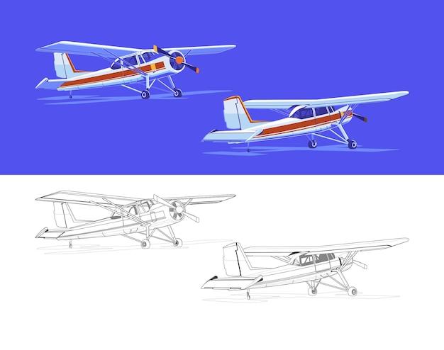Samoloty tłokowe z różnych stron. widok z przodu iz tyłu.