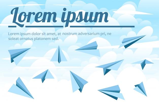 Samoloty z niebieskiego papieru. ilustracja na tle nieba. ilustracja z chmurami