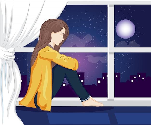 Samotna dziewczyna wygląda przez okno na nocnej ilustracji