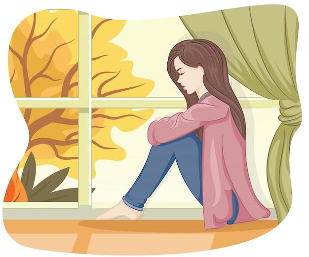 Samotna dziewczyna wygląda przez okno na tej jesiennej ilustracji