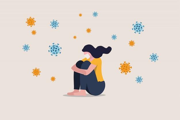 Samotność i depresja z powodu dystansu społecznego, samotność pozostać sama w domu w kryzysie koronawirusa covid-19, lęk przed infekcją wirusową, smutna, nieszczęśliwa dziewczyna w depresji siedzi sama z patogenami wirusowymi