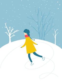 Samotny chłopiec jeździ na łyżwach na lodowisku na świeżym powietrzu śnieg spadający z drzew sylwetki zimowa aktywność