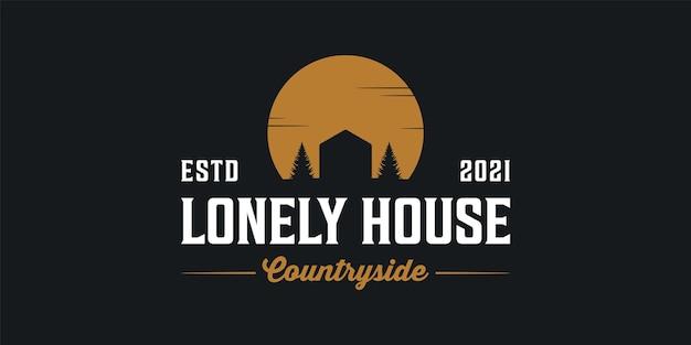 Samotny dom wsi sylwetka vintage retro hipster logo