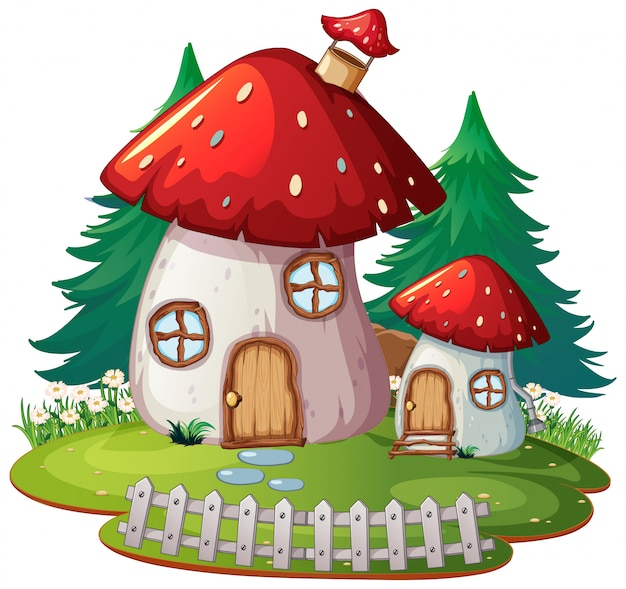 Samotny dom z grzybami fantasy