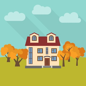 Samotny dwupiętrowy dom na polu z pięcioma żółtymi drzewami. ilustracja wektorowa.