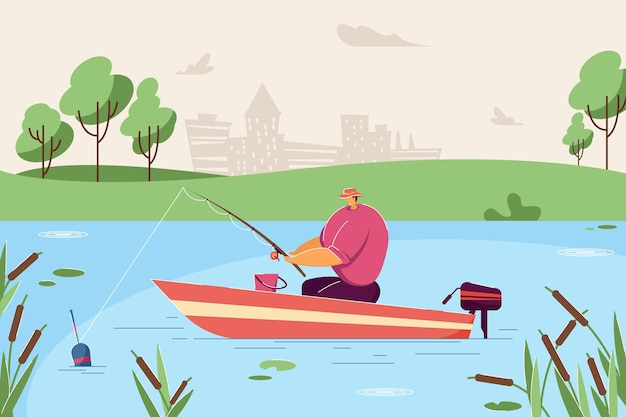 Samotny mężczyzna łowiący ryby w łodzi ilustracja wektorowa płaski rybak siedzi w łodzi na środku jeziora