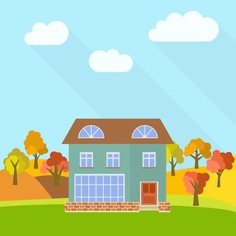 Samotny piętrowy dom w polu z żółtymi drzewami. ilustracja wektorowa.