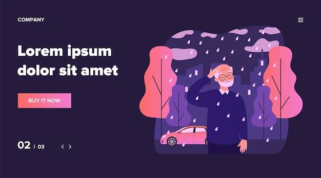 Samotny starszy mężczyzna chodzący w deszczu. smutna siwowłosa postać na zewnątrz, miasto, ilustracja jesień. samotność, emerytura, koncepcja starości dla banera, strony internetowej lub strony docelowej