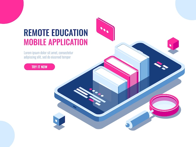 Samouczek na temat aplikacji na telefon komórkowy, edukacja online, kurs internetowy, wyszukiwanie danych