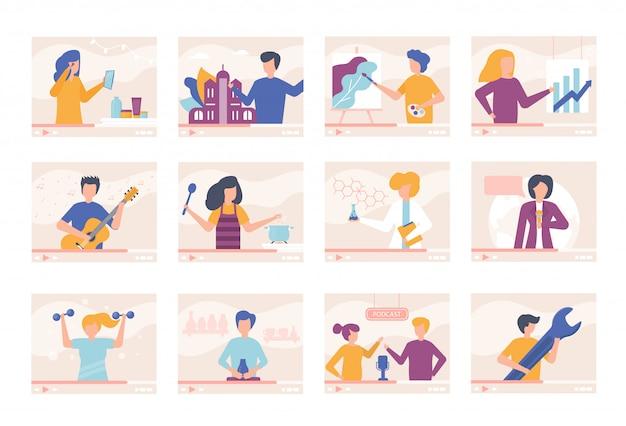 Samouczki wideo blogger osób online szkolenia wideo zestaw ilustracji. mężczyźni, kobiety mówią o gotowaniu, podróżowaniu, urodzie, dają lekcje gry na gitarze, rysowania, fitnessu. strumień online