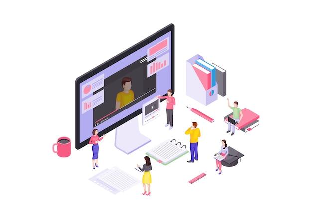 Samouczki wideo izometryczne. e-learning. kursy i edukacja online. przesyłanie strumieniowe wideo i hosting. interaktywna koncepcja szkolenia 3d. udostępnianie treści, vlogowanie. izolowane clipart