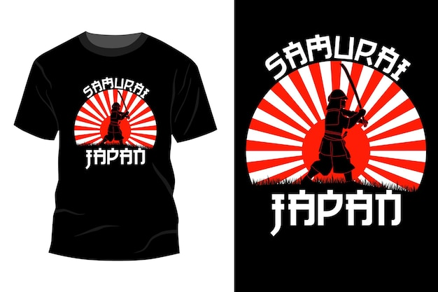 Samurai japonia t-shirt makieta projekt vintage retro