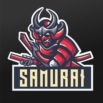 Samurai ninja czerwona maskotka sport projekt ilustracji dla drużyny logo esport gaming team