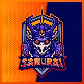 Samurai robot e sport i projekt logo maskotki sportowej