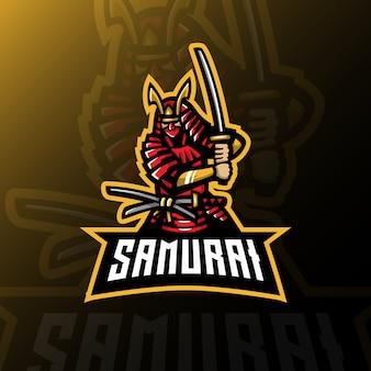 Samuraj maskotka logo esport gaming ilustracja.