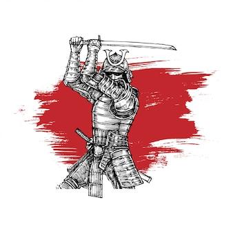Samuraj w stabilnej pozycji z kataną