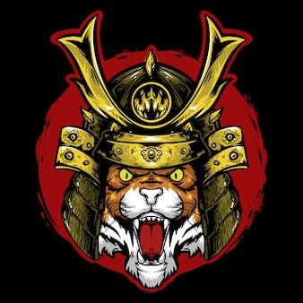 Samuraj z głową tygrysa z czerwoną maskotką z logo w tle