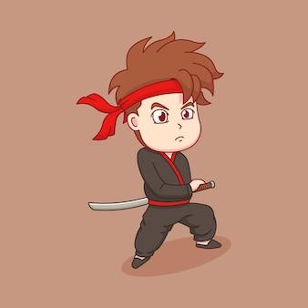 Samuraj ze swoim mieczem katana